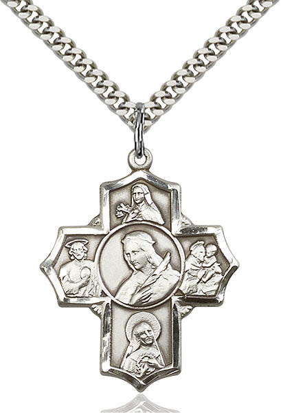 St. Philomena Special Devotion Five-Way Medal - Sterling Silver Medal & Rhodium Chain