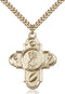 St. Christopher Sports Five-Way Medal - Gold Filled Medal & Gold Plated Chain