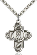 St. Christopher Sports Five-Way Medal - Sterling Silver Medal & Rhodium Chain