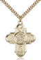 Our Lady Special Devotion Five-Way Medal - Gold Filled Medal & Gold Plated Chain