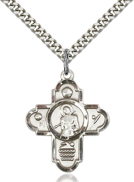 St. Sebastian Sports Five-Way Medal - Sterling Silver Medal & Rhodium Chain