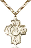 Scapular Special Devotion Five-Way Medal - Gold Filled Medal & Gold Plated Chain