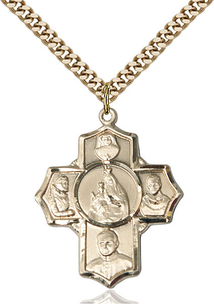 Polish Special Devotion Five-Way Medal - Gold Filled Medal & Gold Plated Chain