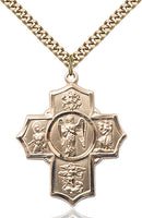 Warrior Special Devotion Five-Way Medal - Gold Filled Medal & Gold Plated Chain