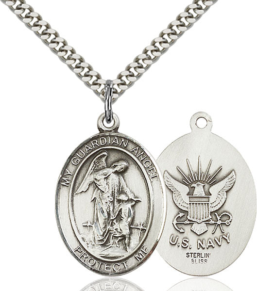 Guardian Angel U.S. Navy Sterling Silver Medal