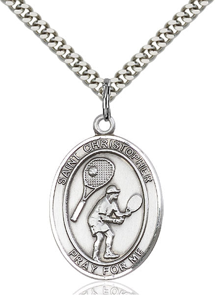 St. Christopher Tennis Sterling Silver Medal