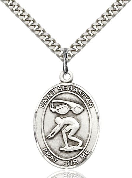 St. Sebastian Swimming Sterling Silver Medal