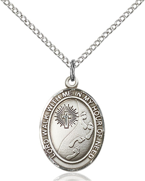 Lord Walk With Me In My Hour of Need Sterling Silver Medal