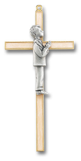 "7"" First Communion Gold and Pewter Cross (Boys)"