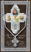 Genuine Pewter Communion 4-Way Medal with Stainless Steel Chain