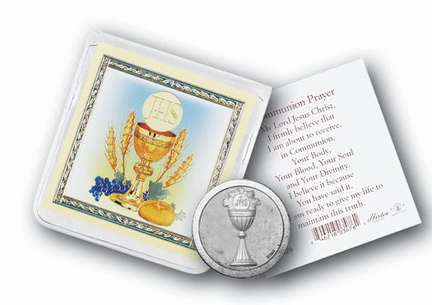 Communion Pocket Coin with Gold Stamped Holy Card & Pouch