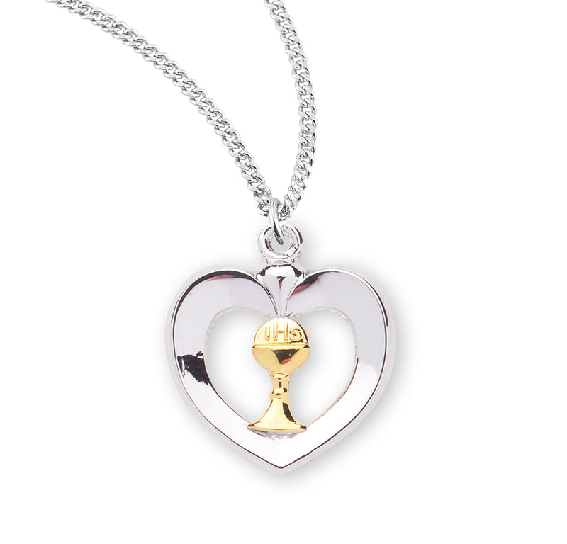 "Sterling Silver Heart & Chalice Pendant on an 18"" Rhodium Plated Chain"