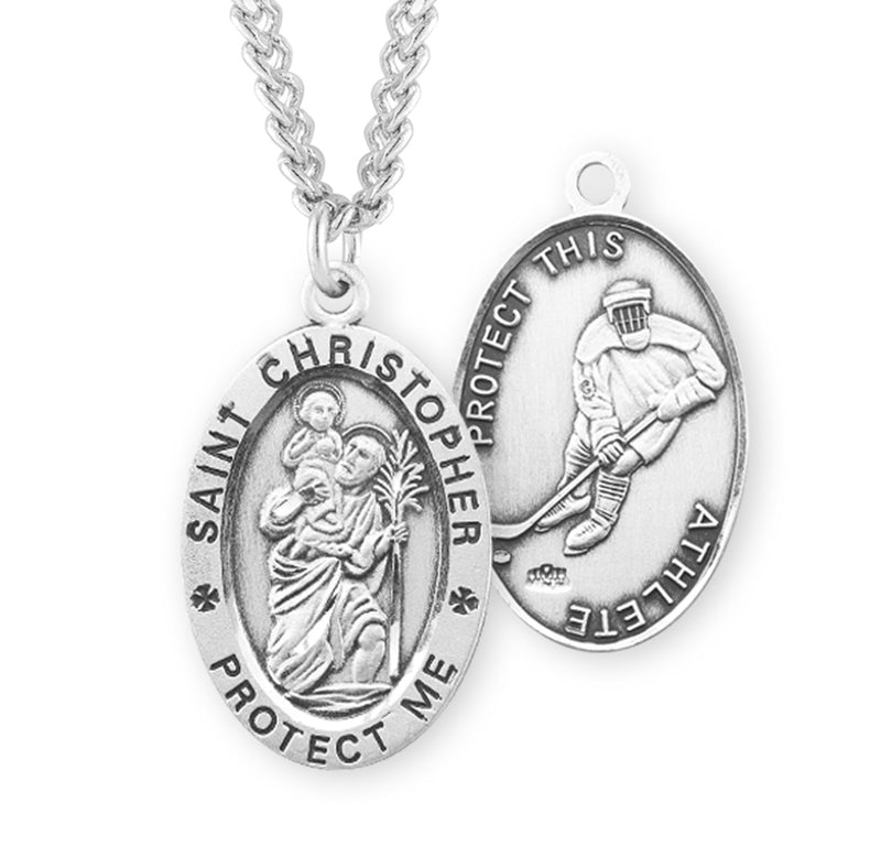 "Sterling Silver St. Christopher Sports Medal with Genuine Rhodium Plated 24"" Chain - Hockey"