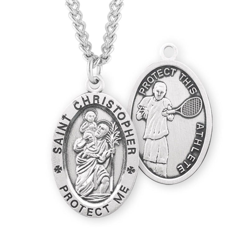 "Sterling Silver St. Christopher Sports Medal with Genuine Rhodium Plated 24"" Chain - Tennis"