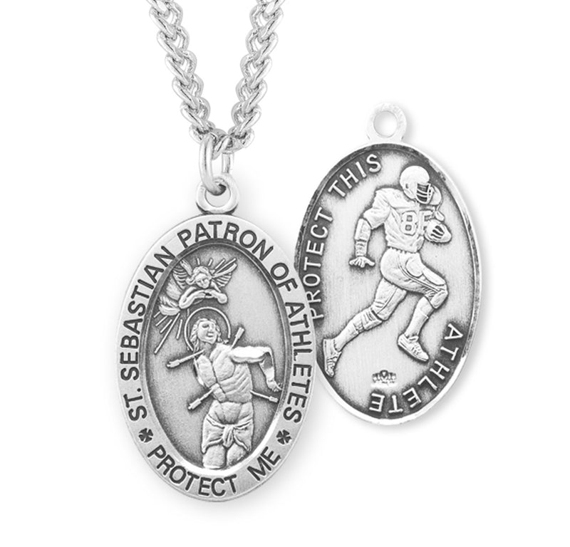 "Sterling Silver St. Sebastian Sports Medal with Genuine Rhodium Plated 24"" Chain - Football"