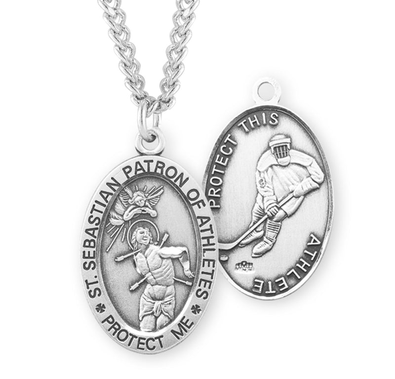 "Sterling Silver St. Sebastian Sports Medal with Genuine Rhodium Plated 24"" Chain - Hockey"