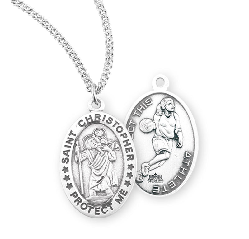 "Sterling Silver St. Christopher Sports Medal with Genuine Rhodium Plated 18"" Chain - Basketball"