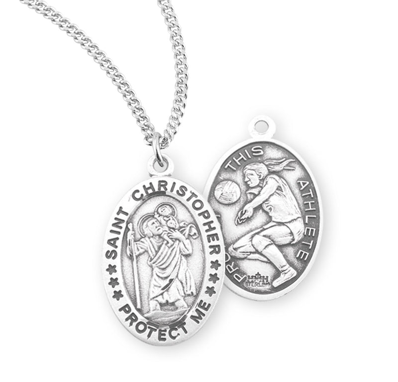 "Sterling Silver St. Christopher Sports Medal with Genuine Rhodium Plated 18"" Chain - Lacrosse"