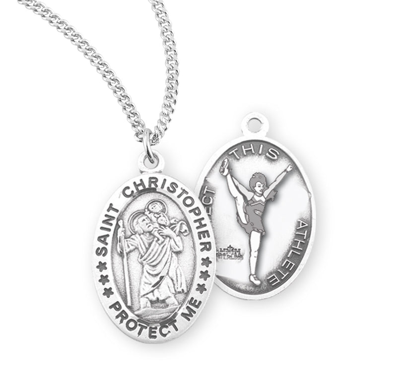 "Sterling Silver St. Christopher Sports Medal with Genuine Rhodium Plated 18"" Chain - Cheer"