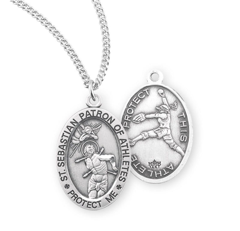 "Sterling Silver St. Sebastian Sports Medal with Genuine Rhodium Plated 18"" Chain - Softball"