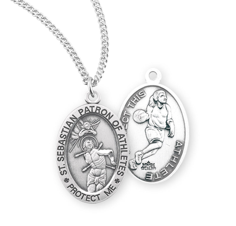 "Sterling Silver St. Sebastian Sports Medal with Genuine Rhodium Plated 18"" Chain - Basketball"