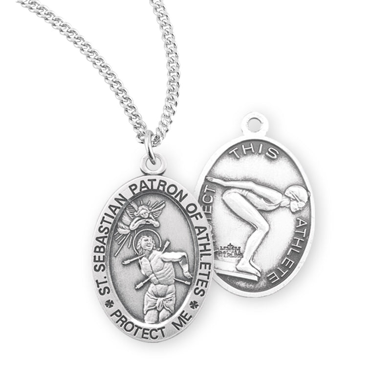 "Sterling Silver St. Sebastian Sports Medal with Genuine Rhodium Plated 18"" Chain - Swimming"