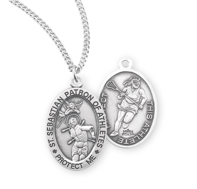 "Sterling Silver St. Sebastian Sports Medal with Genuine Rhodium Plated 18"" Chain - Lacrosse"