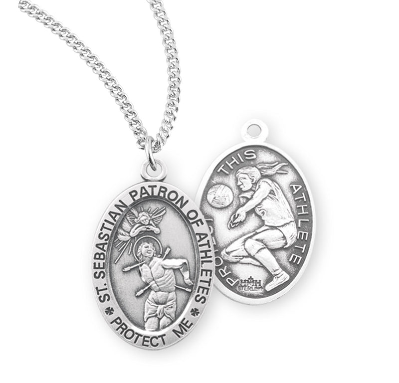"Sterling Silver St. Sebastian Sports Medal with Genuine Rhodium Plated 18"" Chain - Volleyball"