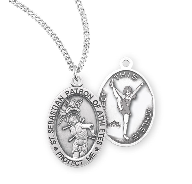 "Sterling Silver St. Sebastian Sports Medal with Genuine Rhodium Plated 18"" Chain - Cheer"