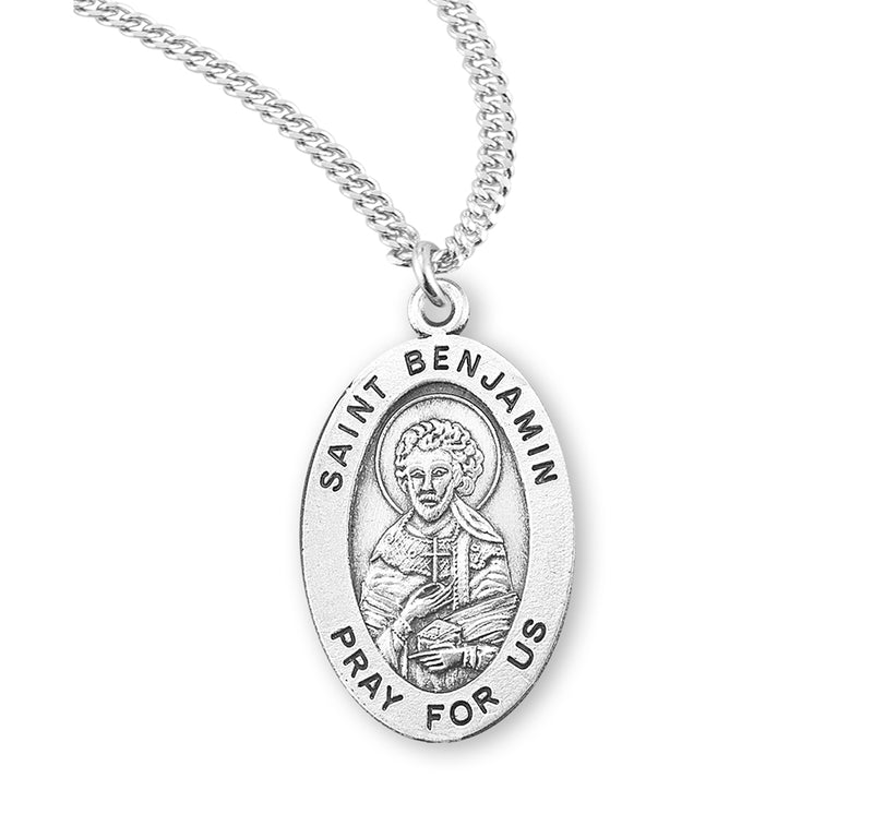 "Sterling Silver St. Benjamin Medal with Genuine Rhodium Plated 20"" Chain"