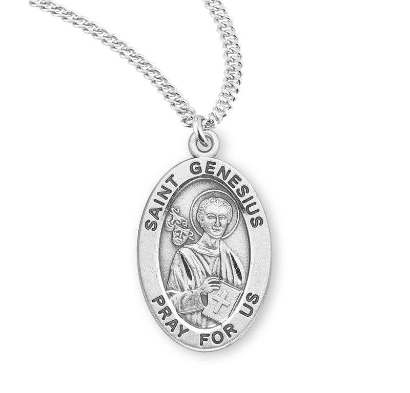 "Sterling Silver St. Genesius Medal with Genuine Rhodium Plated 20"" Chain"