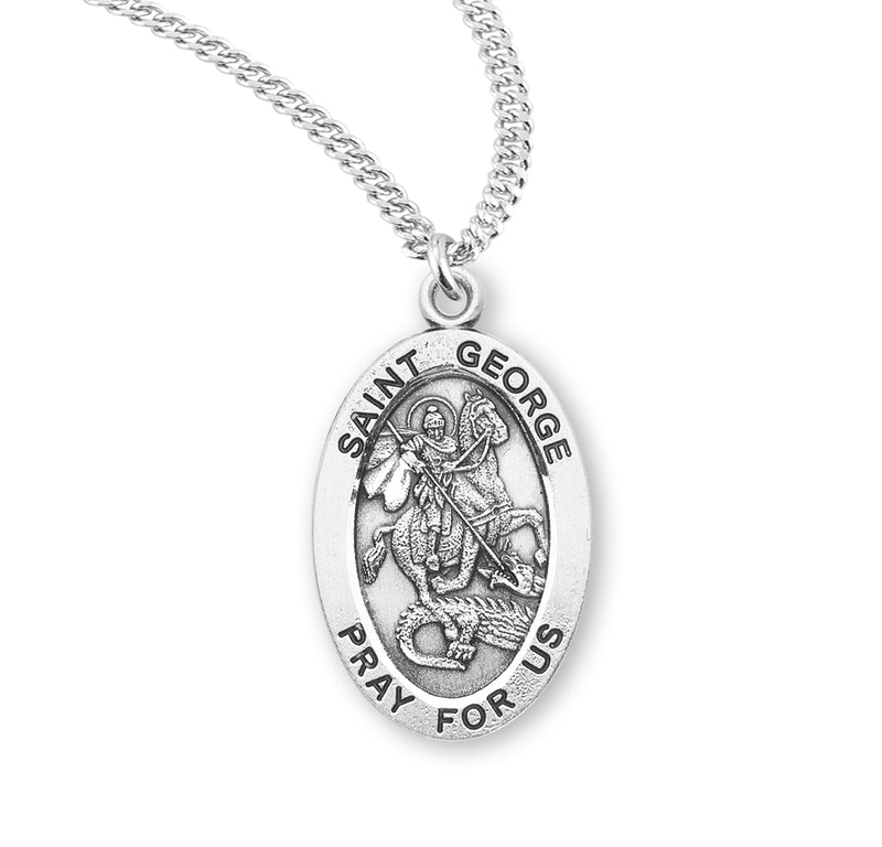 "Sterling Silver St. George Medal with Genuine Rhodium Plated 20"" Chain"