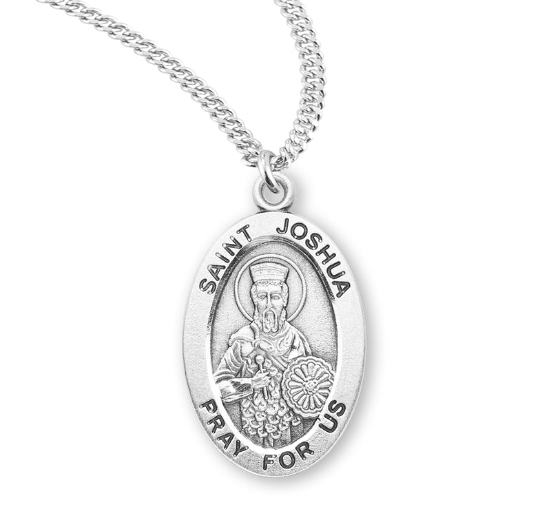 "Sterling Silver St. Joshua Medal with Genuine Rhodium Plated 20"" Chain"