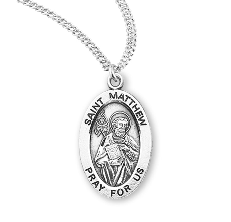 "Sterling Silver St. Matthew Medal with Genuine Rhodium Plated 20"" Chain"
