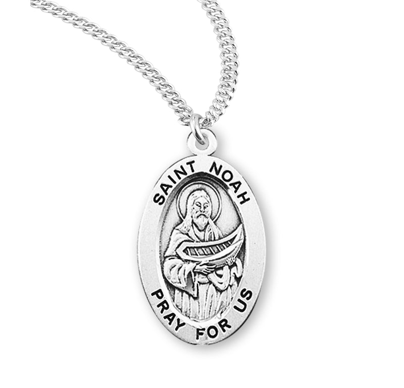 "Sterling Silver St. Noah Medal with Genuine Rhodium Plated 20"" Chain"