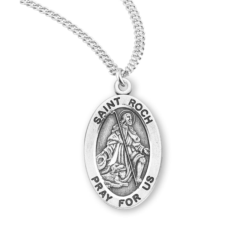 "Sterling Silver St. Roch Medal with Genuine Rhodium Plated 20"" Chain"