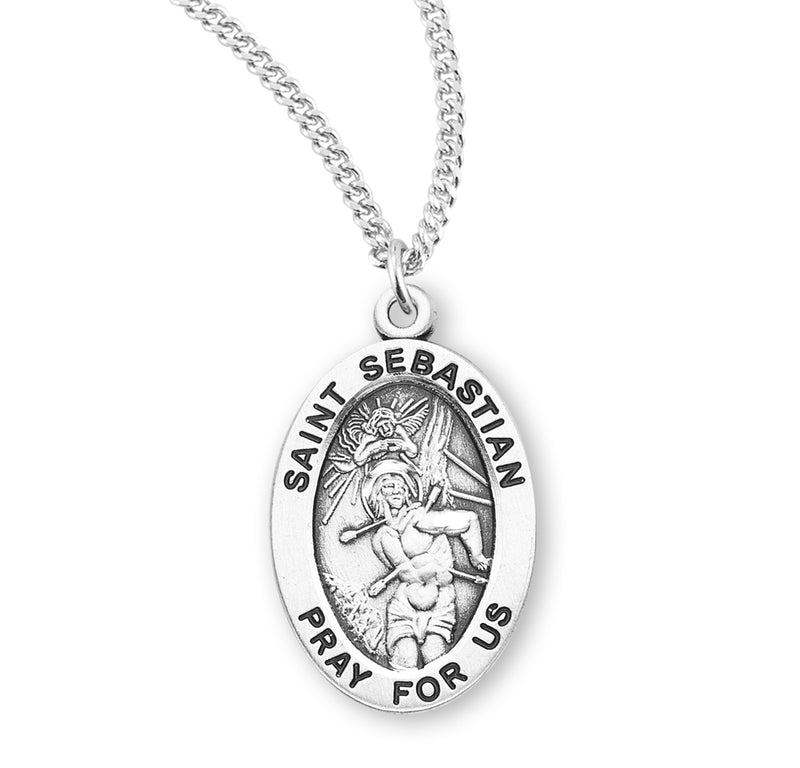"Sterling Silver St. Sebastian Medal with Genuine Rhodium Plated 20"" Chain"