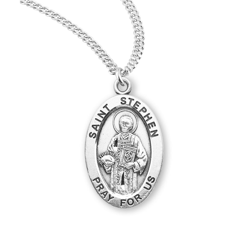 "Sterling Silver St. Stephen Medal with Genuine Rhodium Plated 20"" Chain"