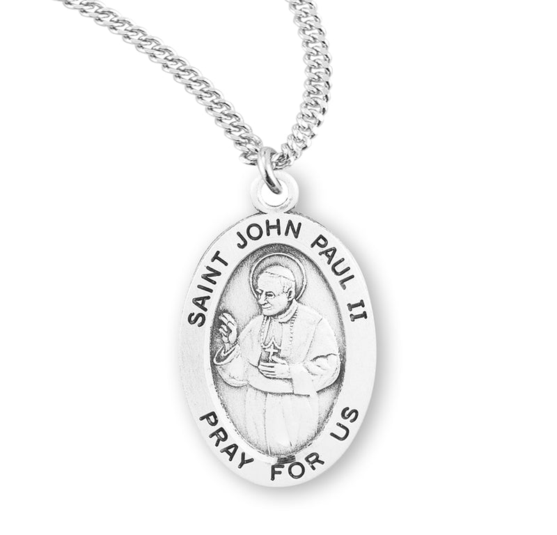 "Sterling Silver St. John Paul II Medal with Genuine Rhodium Plated 20"" Chain"