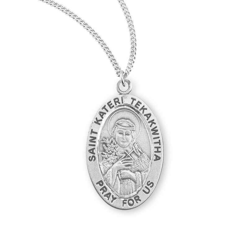 "Sterling Silver St. Kateri of Tekakwitha Medal with Genuine Rhodium Plated 18"" Chain"
