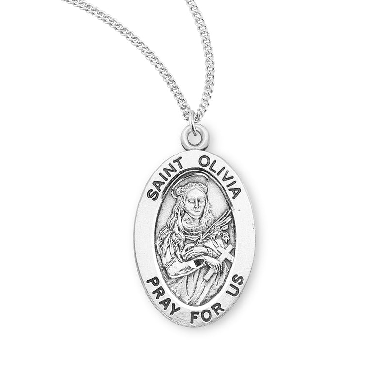 "Sterling Silver St. Olivia Medal with Genuine Rhodium Plated 18"" Chain"