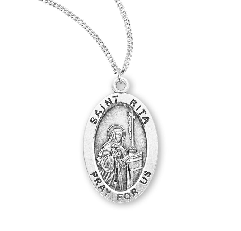 "Sterling Silver St. Rita Medal with Genuine Rhodium Plated 18"" Chain"