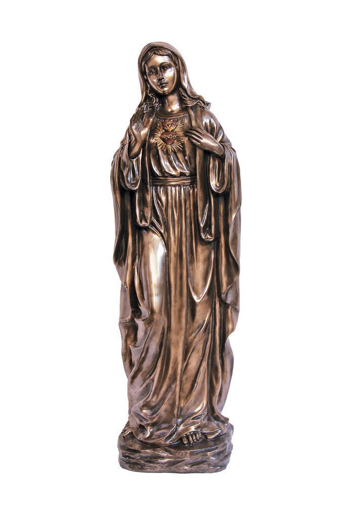 Immaculate Heart of Mary Statue - Bronze - 39""