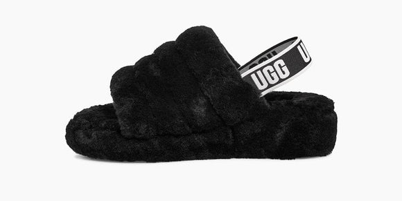 UGG FLUFF YEAH SLIDE -Black- women - airdrizzykicks.com