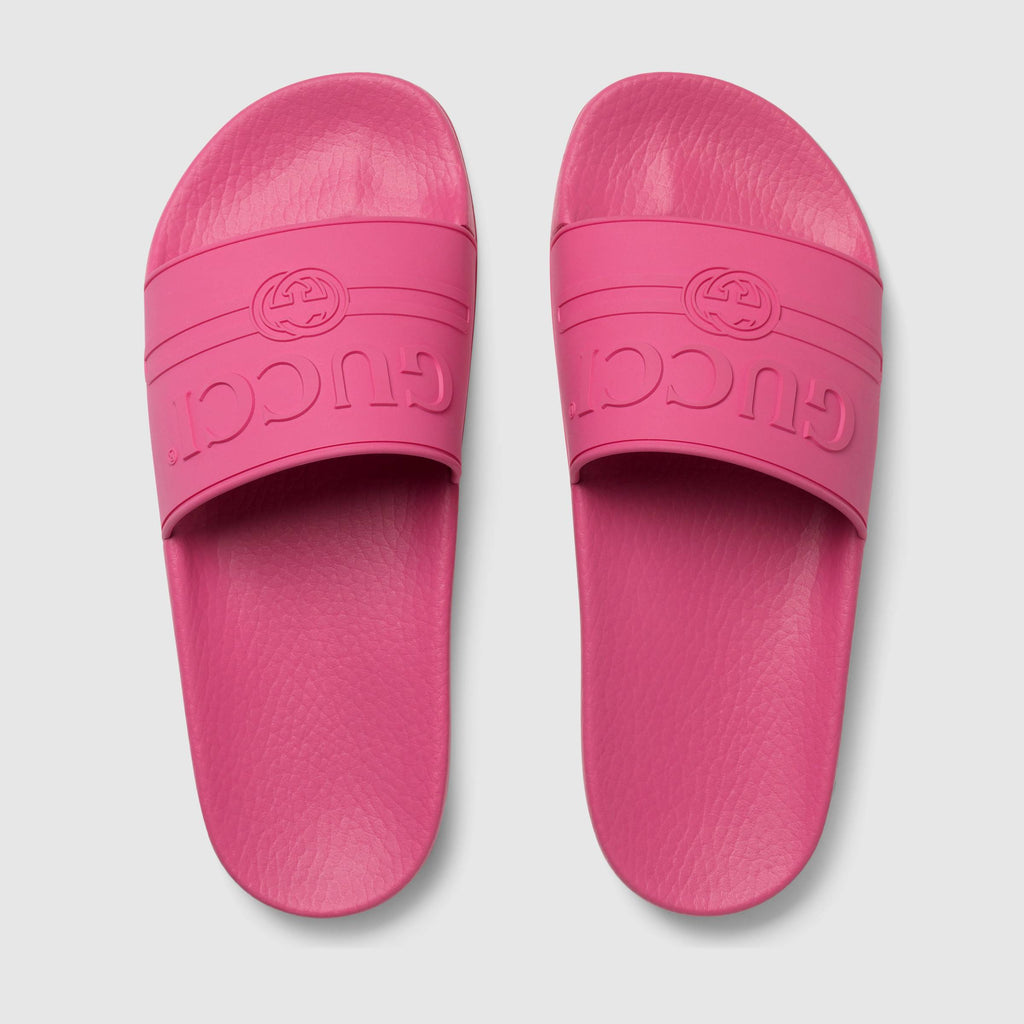 049c26701fe Gucci Women s Pursuit Logo Slide Sandals (Fuchsia Pink) – airdrizzykicks.com