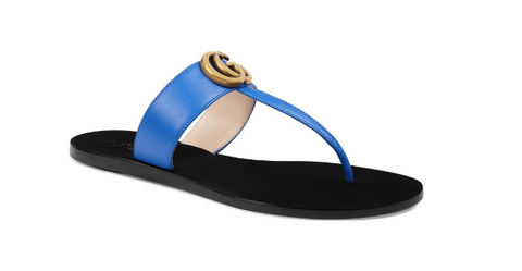 Gucci Leather thong sandal with Double G Womens - airdrizzykicks.com