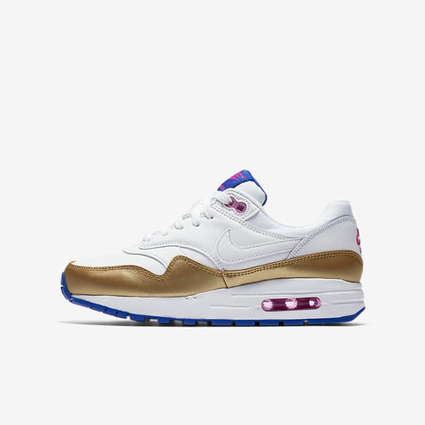 Nike Air Max 1 'Gold Racer blue' Grade School - airdrizzykicks.com