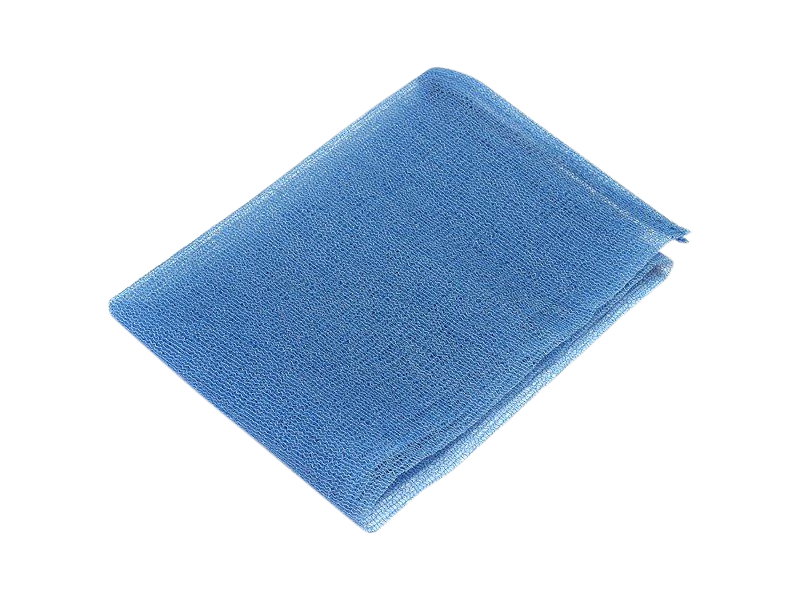 Blue nylon exfoliating cloth