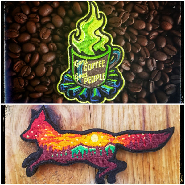 2019 Adventure 2-pack patch/sticker set (Limit 2 total foxes, 3 coffees per household)
