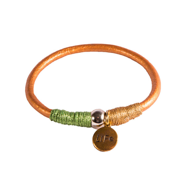 Life Charm Leather Bangle